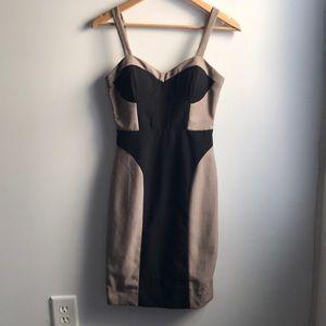 Arden B black tan bodycon bustier colorblock dress